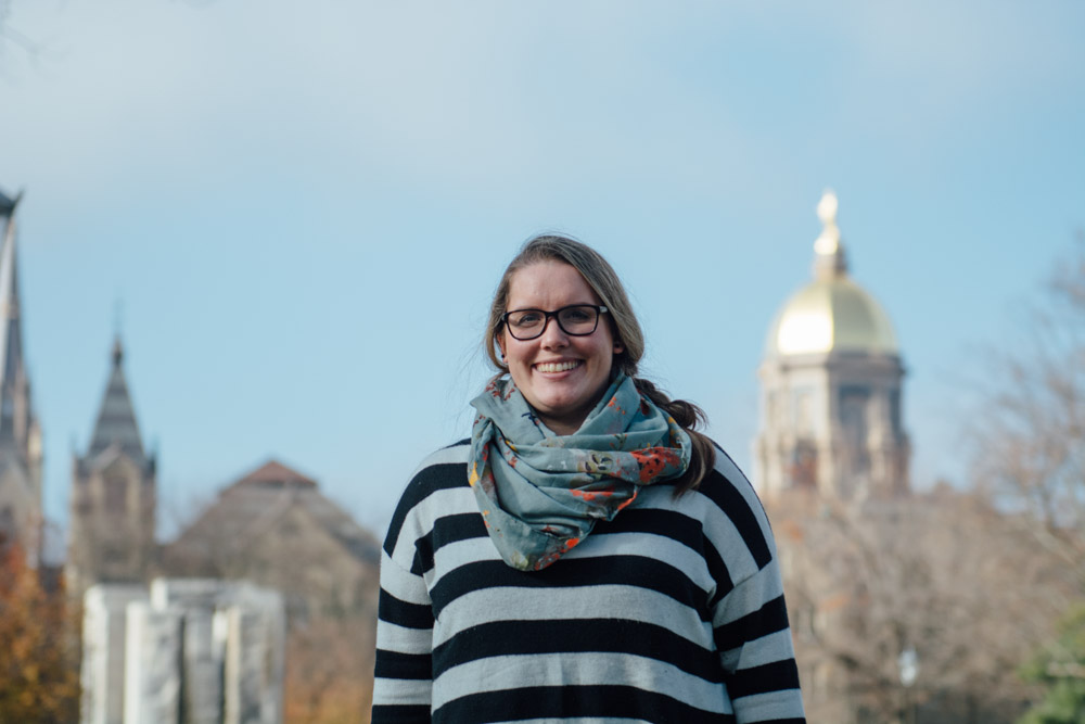 image of Lindsey Wieck standing in front of the Notre Dame dome